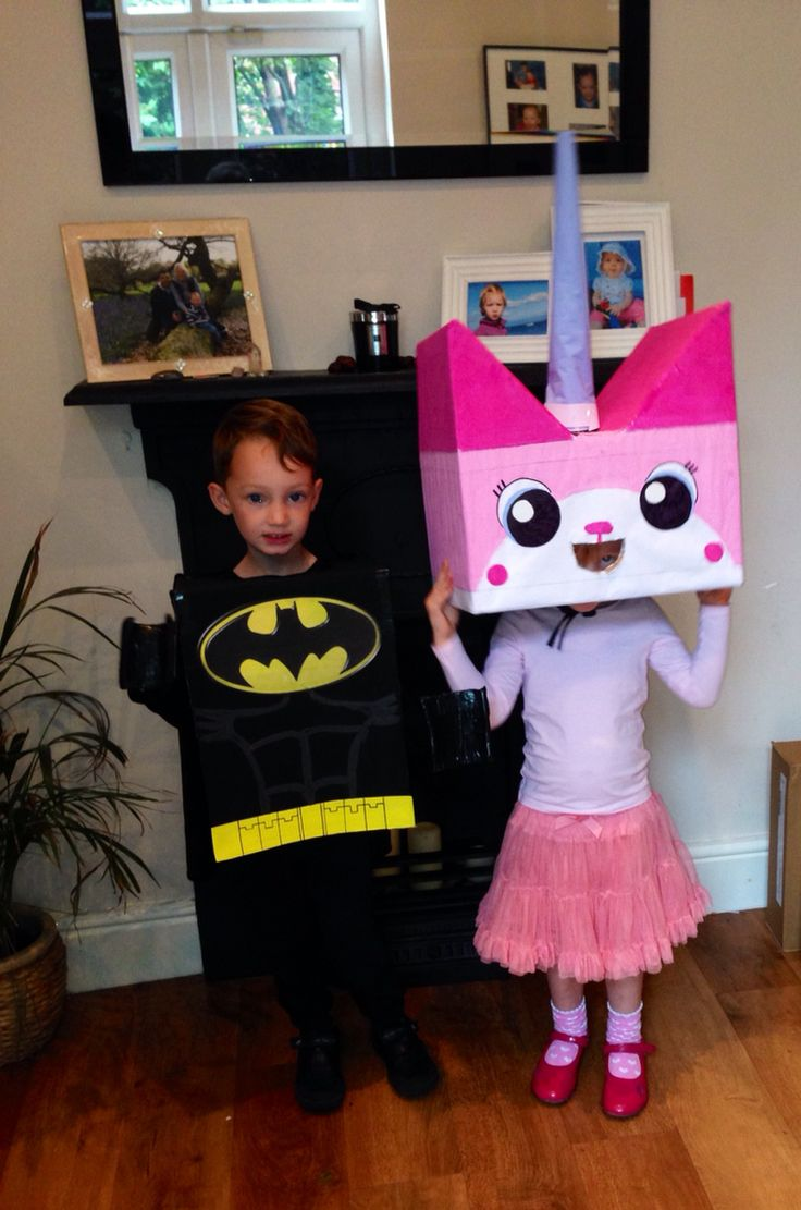 lego batman and unikitty homemade kids costumes - Childrens Funny Halloween Costumes