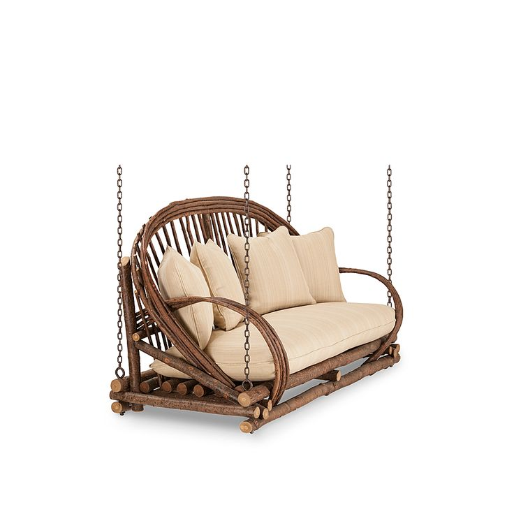 Rustic Porch Swing #1091 shown in Natural Finish (on Bark) by La Lune Collection