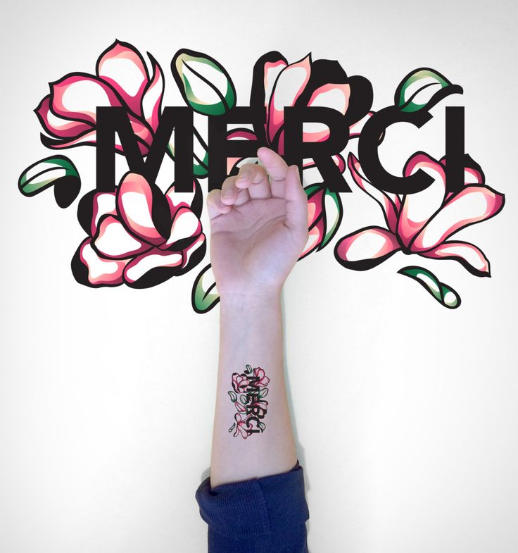 Thank you typography floral temporary tattoo/Inspirational temporary tattoo/French Thank you temporary tattoo/Makeforgood floral tattoo by EasternCloud on Etsy