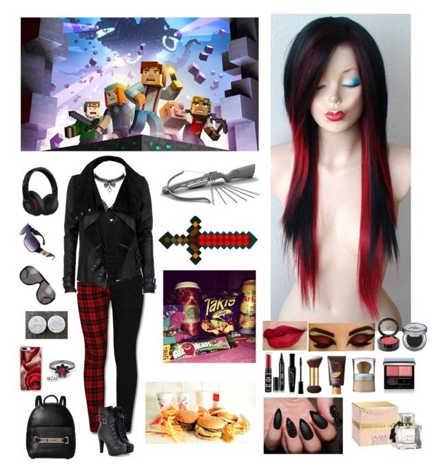 """Minecraft Story Mode: Emo Fighter"" by hetalia2013 on Polyvore featuring L'Agent By Agent Provocateur, Poizen Industries, Grès, AiSun, Love Moschino, Casetify, Betsey Johnson, River Island, Tom Ford and Beats by Dr. Dre"