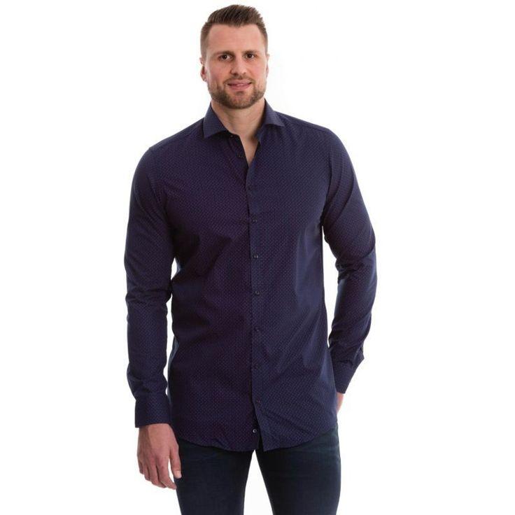 Chemise Bleu Marine À Motifs Rouge – Taille : 3XL