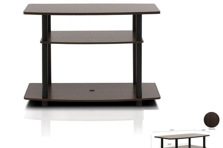 Espresso TV stand media entertainment center 3-tier storage cabinet furniture