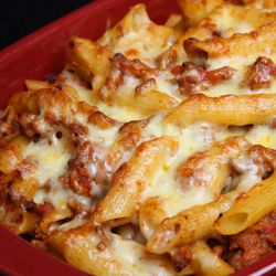 Cheesy Mostaccioli - I altered the recipe a bit by using Bertolli pasta sauce w the ground turkey, & mozz chz. (-: