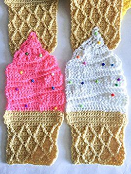 Amazon.com: Ice cream crochet #scarf with #sprinkles #sugar cone in the #colors #berry, #pink, #blue, #white and #yellow, ice cream, #icecream scarf, ice cream theme: #Handmade