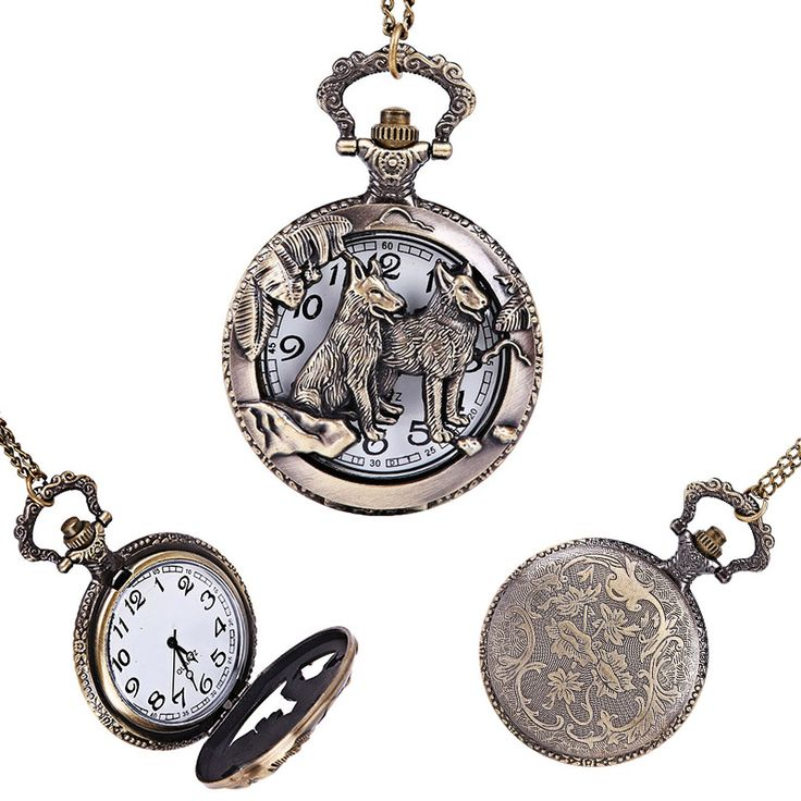 Fashion Hollow Antique Dog Zodiac Pocket Watch Fob with Chain Necklace Jewelry Gifts for Women Men LXH