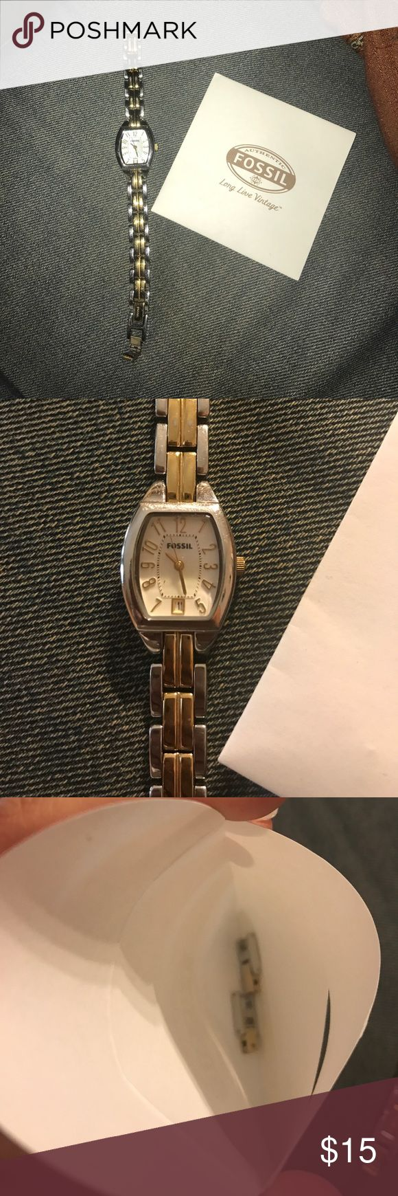 Fossil watch Gold & silver stainless steel. Used. Does need battery replacement. Comes w/links for sizing. Clasp closure. Fossil Accessories Watches