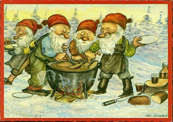 Julkort Jac Edgren 4 tomtar grillar