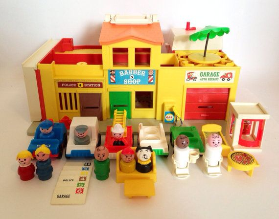 Complete Vintage Fisher Price Little People Village on Etsy, $185.00