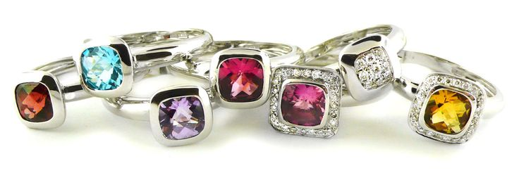 A Collection of 18ct White Gold Stackable Rings
