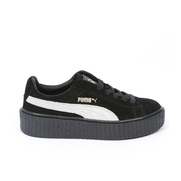 Puma Puma X Rihanna Fenty Suede Creepers ($140) ❤ liked on Polyvore featuring shoes, puma footwear, puma shoes, creeper shoes, black and white shoes and suede leather shoes