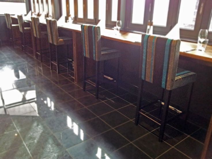 Straits @ RendezvousGrand Hotel – Adelaide | Concept Collections | Lincoln Barstool with Back in Dark Brown (with custom upholstered seat and back)