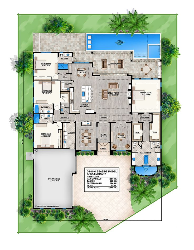 Offered by South Florida Design, this 2 story Coastal Contemporary house plan features great room, formal dining room, study & master suite.