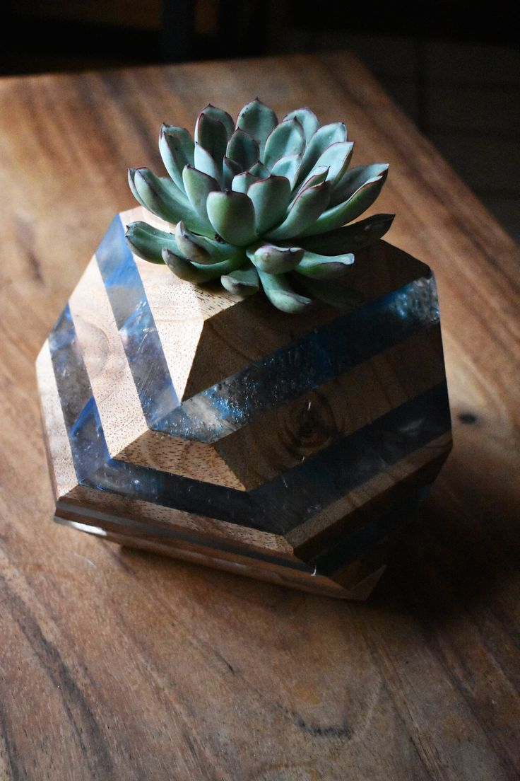 Flowerpot Made Of Wood Layers And Epoxy Resin With A Geometric