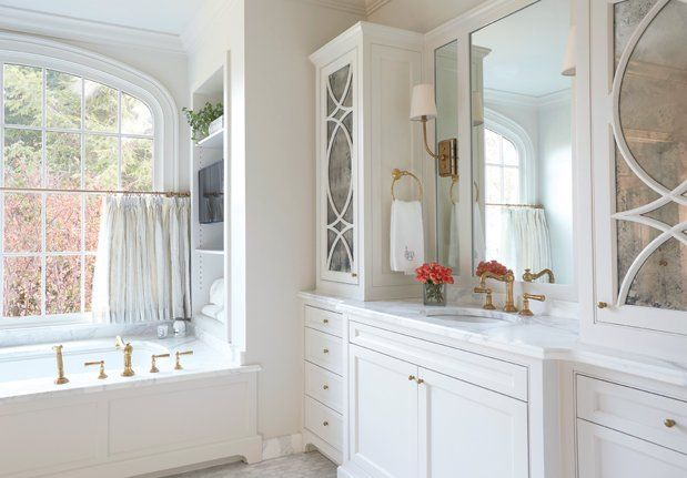 Bathtub Under Window With Curtains, Transitional, Bathroom, Libby Greene Interiors