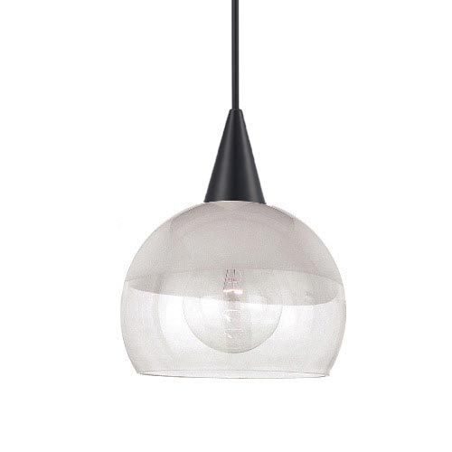 Frost Black Mini Pendant with Cone Socket and Opal/Clear Shade