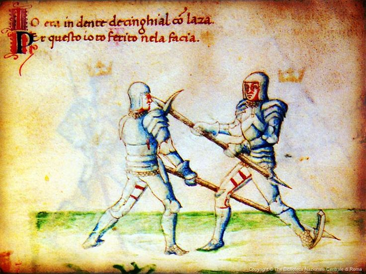 combact-becorbin. Italian fencing master Filippo Vadi, wrote De Arte Gladiatoria Dimicandi, a manual for fencing with various weapons, that is accompanied by a variety of colored illustrations, some time in the early-mid 15th Century. The book and the illustrations both have segments focusing on the maul.