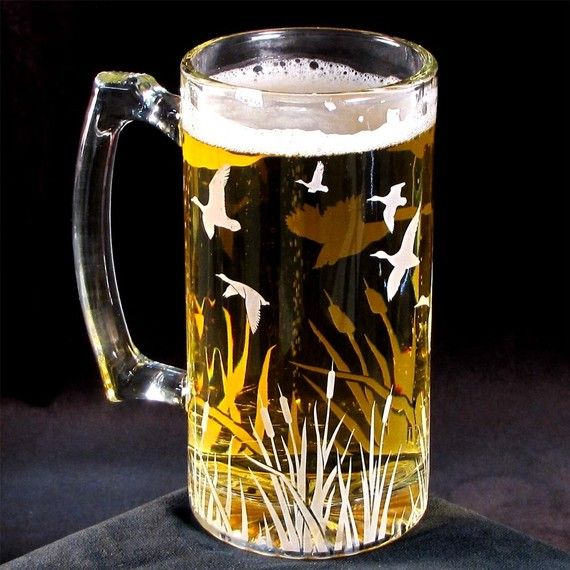 Etched Glass Beer Stein for Men Bird Watcher Unique by bradgoodell