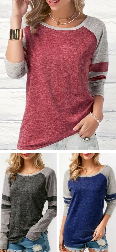 Round Neck Long Sleeve Patchwork Casual Top.