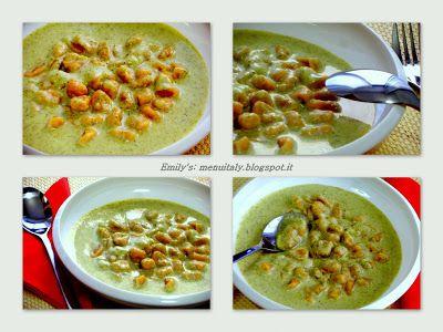 Gnocchi di zucca con vellutata di broccoli e forma...