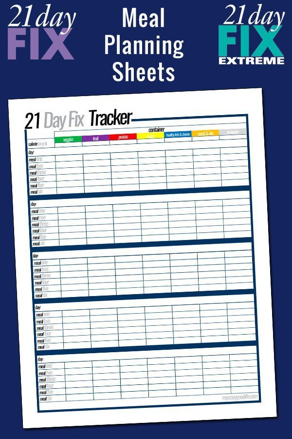 Free printable 21 Day Fix meal planning sheets | The o ...