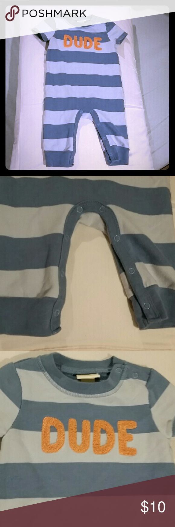 Baby Boy One Piece EUC. My son wore this twice before getting too long for it. Absolutely adorable, two toned blue thick stripes with DUDE on the front. Pull over with 2 snap closure on shoulder and crotch snaps for easy diaper change. Price firm unless bundled. Great prices on bundles! One Pieces
