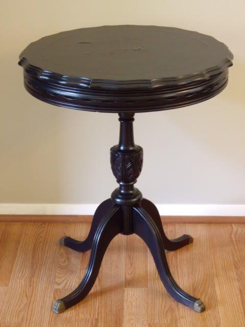 Pie Crust Antique Table Painted Black