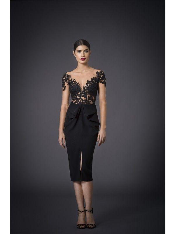 LACE AND CREPE DRESS - Rhea Costa-Shop