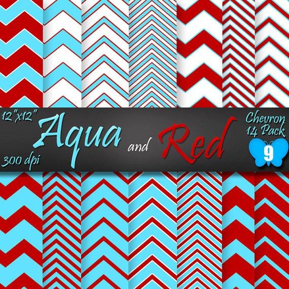 14 Aqua Blue and Red Chevron Pattern Digital by Papillonbleu9, $5.00