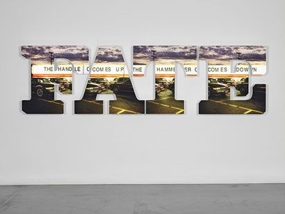 """Doug Aitken, """"The Handle Comes Up, The Hammer Comes Down"""", 2009, LED lit lightbox, 35 x 131 x 7 7/8 inches"""