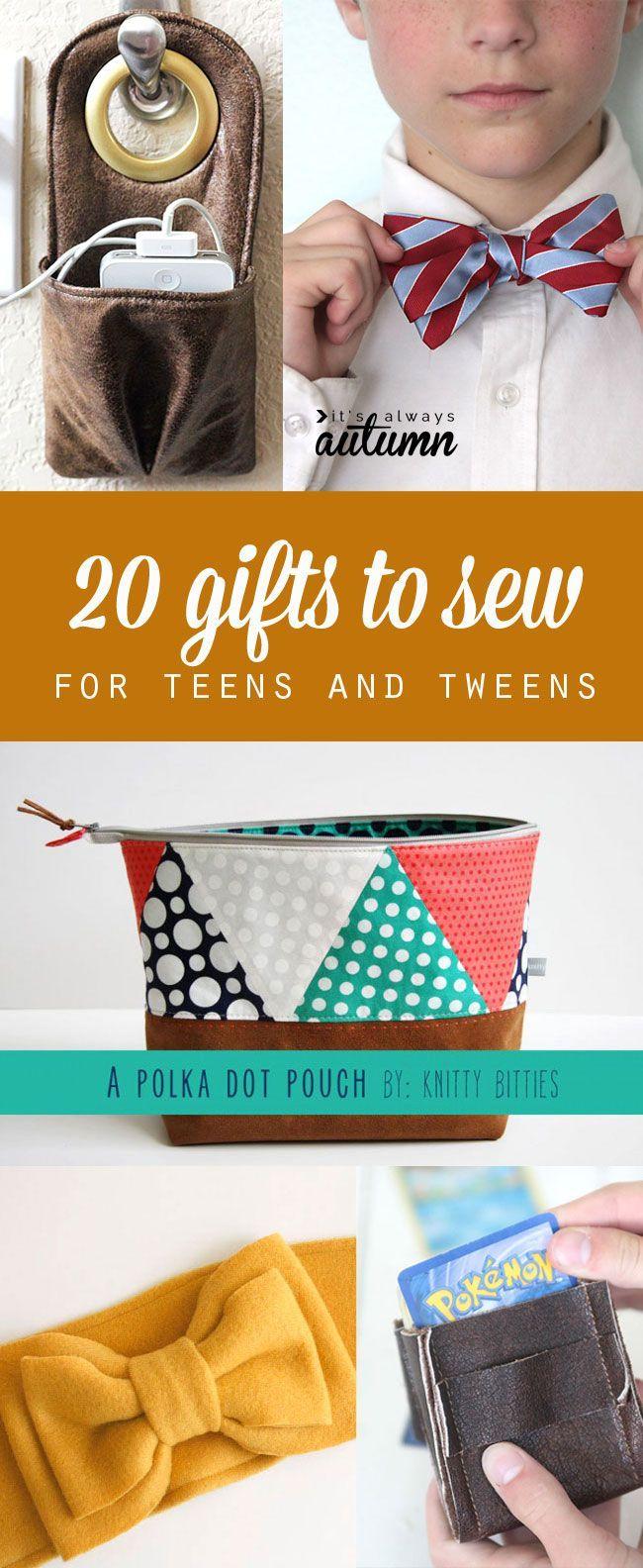20 cadeaux à coudre surtout pour des adolescents - garçons ou filles - avec tutos. (http://www.itsalwaysautumn.com/2014/10/17/gifts-sew-teens.html#_a5y_p=2955424)