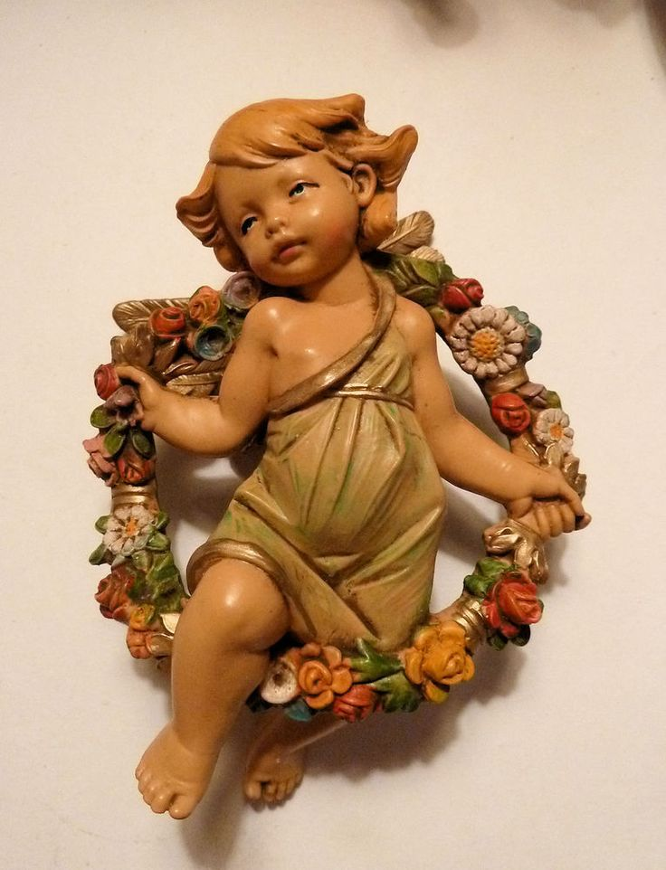 "FONTANINI ITALY 4.5"" Cherub Angel Figurine SPRING from 4 Seasons Set 854 #Fontanini"