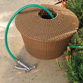 resin wicker hose bowl garden hose holder solutions