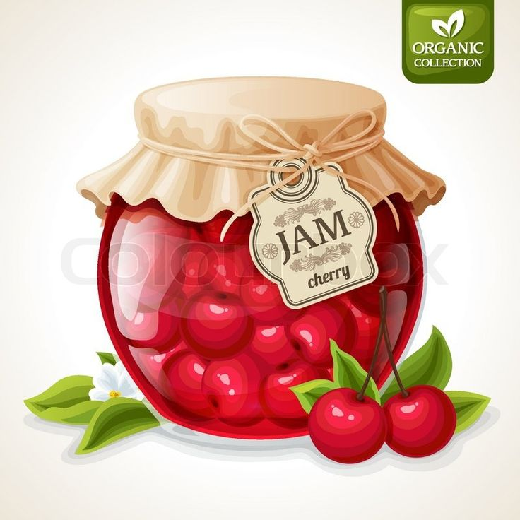 Stock vector of 'Natural organic homemade cherry berry jam in glass jar with tag and paper cover vector illustration'