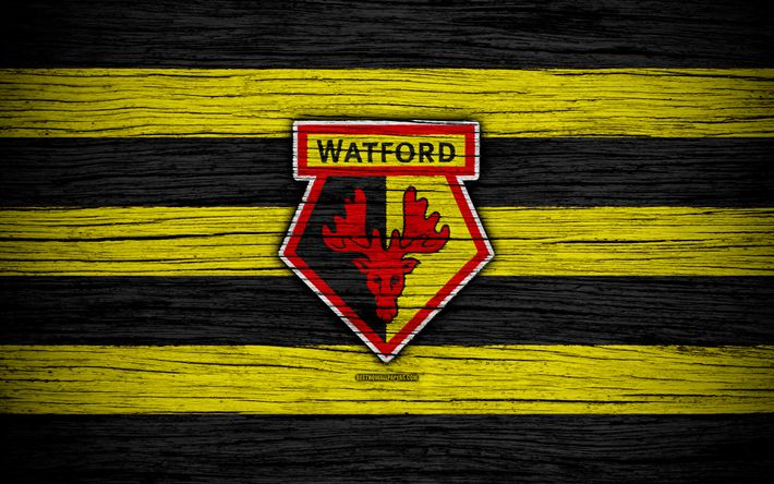 Download wallpapers Watford, 4k, Premier League, logo, England, wooden texture, FC Watford, soccer, football, Watford FC