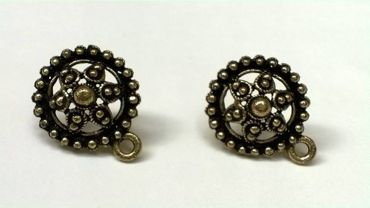 SH1 Antique gold stud base with loop Stud size 15mm, With Rubber stopper Rs- 26/pair
