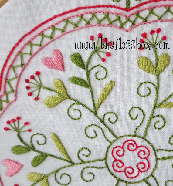 Garden of Hearts Mandala Embroidery Pattern and Kit For Sale on etsy.com by Theflossbox.  jwt