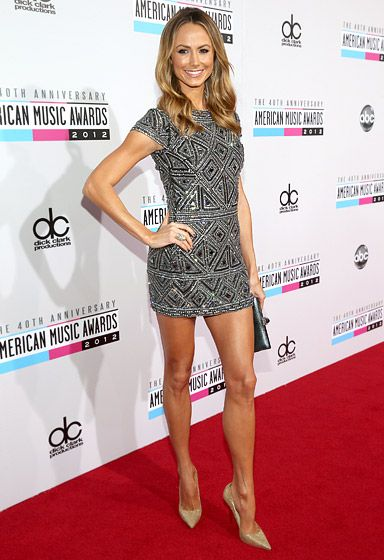 Stacy Keibler showed off her long legs in a sparkly Collette Dinnigan dress at the AMAs Nov. 18.