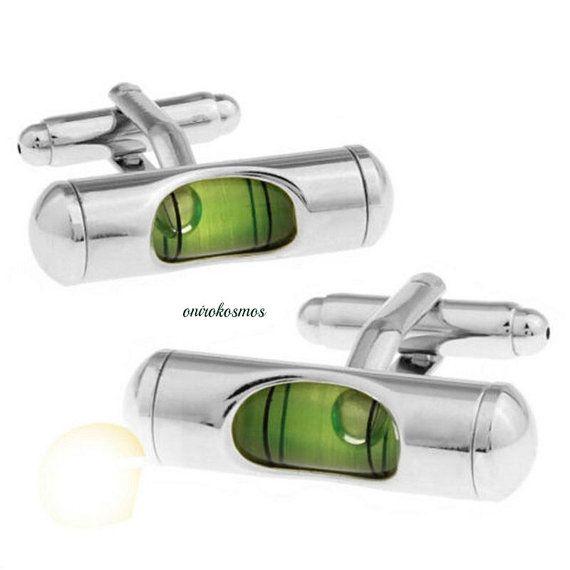 Unique Handcrafted Fully Working Green Spirit Level, Gradienter Level Novelty Stainless steel Cylinder Shirt Cufflinks.