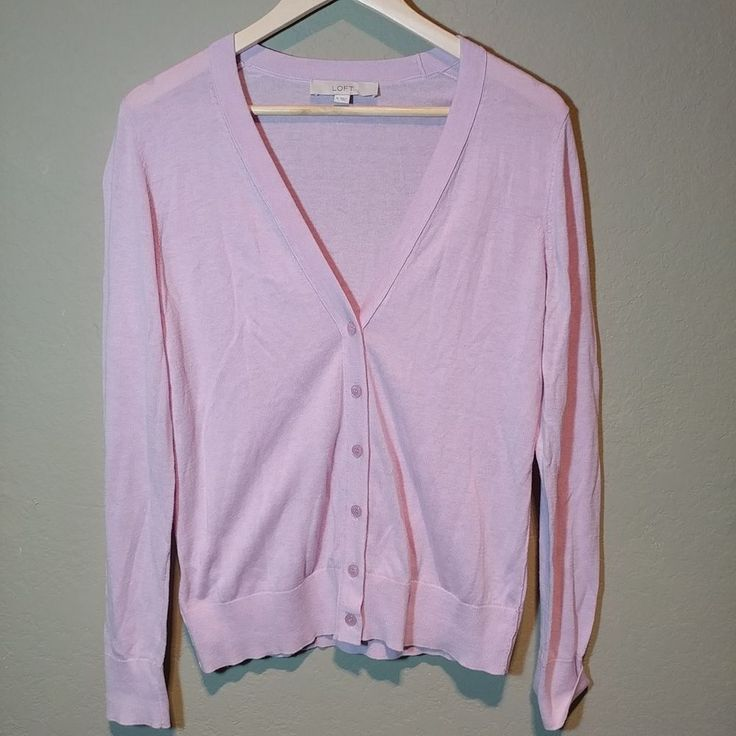 Ann Taylor Loft long Sleeve Cotton blend light Pink Cardigan Sweater Size M #LOFT #Cardigan