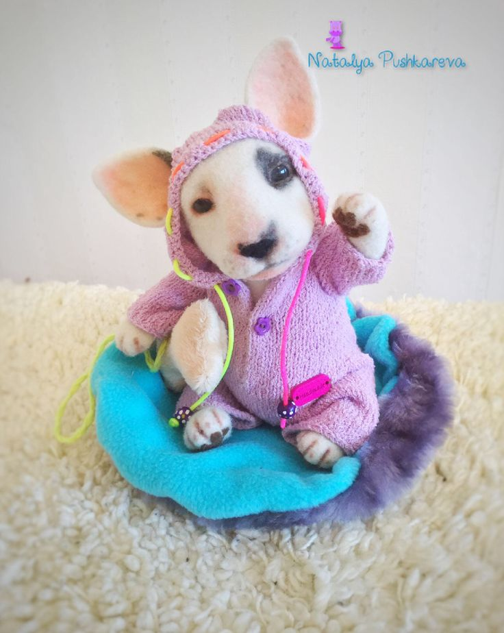 White bull terrier 7 in collectible toy (MADE TO ORDER) by NatalyaPushkarevaToy on Etsy https://www.etsy.com/listing/544557071/white-bull-terrier-7-in-collectible-toy