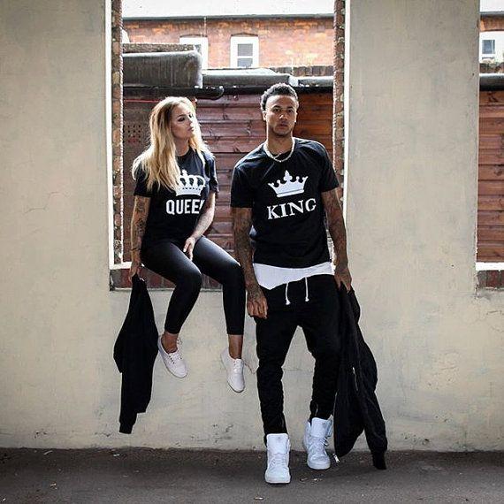 Camisas camisas parejas de Rey Reina, rey y reina parejas camiseta Set, rey y Reina, algodón 100%, UNISEX
