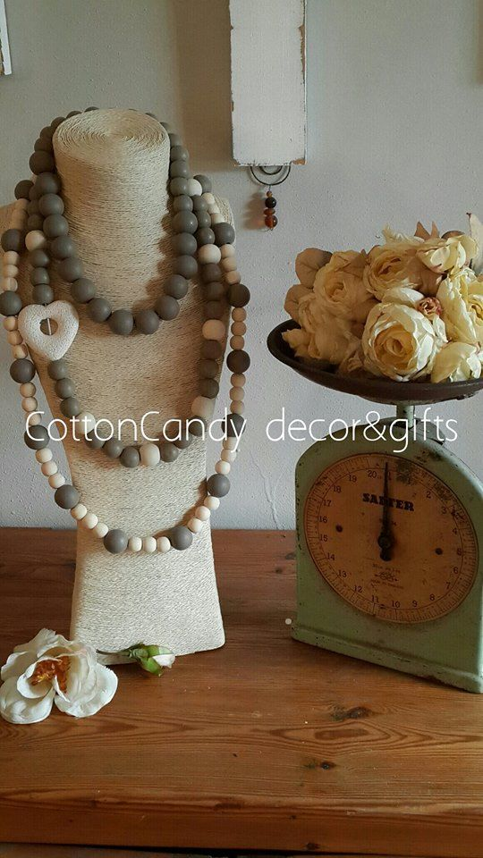 Wooden beads with larva heart