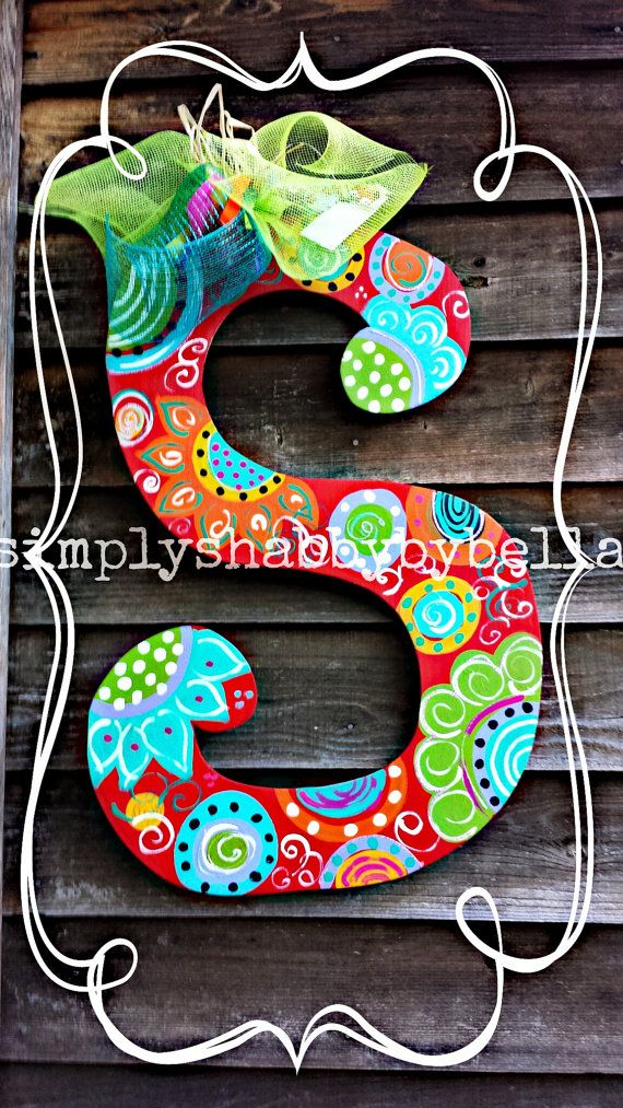 Colorful Personalized Wood Letter Initial Door Hanger Great Christmas Gifts Flowers Patterns