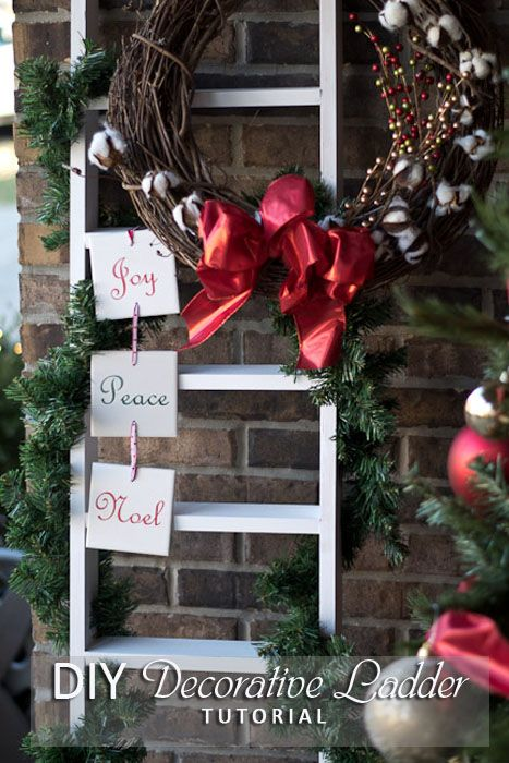 DIY Decorative Ladder - Full tutorial on how to build this quick and easy decorative ladder that can be used all year long! #12daysofaDIYChristmas --  ...Christmas ladder, decorative porch ladder, outdoor decorations, porch decorations, home decor, easy woodworking projects