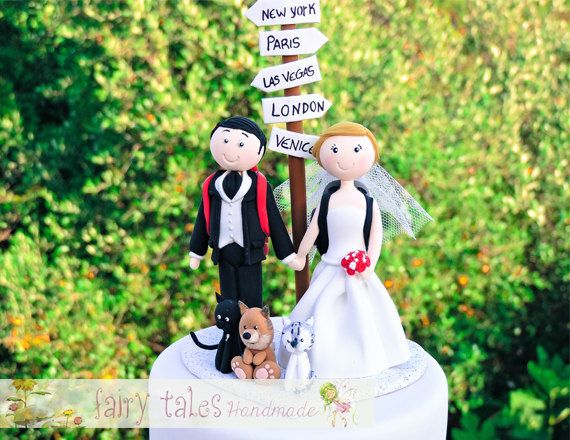 Travel Wedding Cake Topper with Dog by FairyTalesHandmade on Etsy