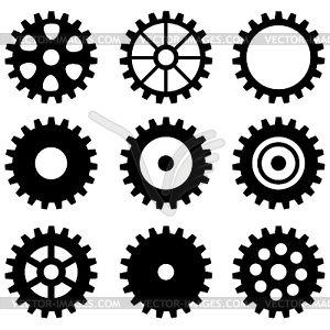 Набор зубчатых колес - векторный клипарт EPS