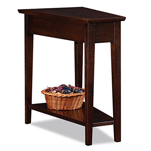 Leick Wedge End Table, Chocolate Oak-24 x 15 x 24 inches