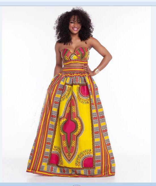 African Dashiki Yellow Bandeau Top and Maxi Skirts