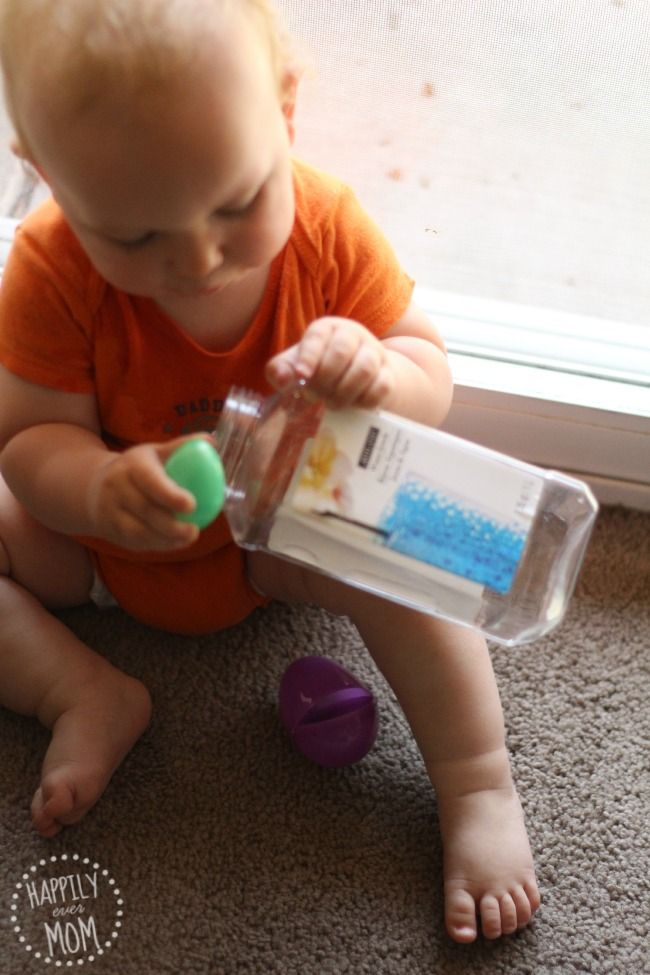 Plastic Eggs into various containers (think plastic recylables)
