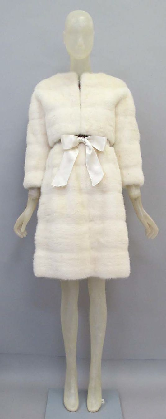 Ensemble, Balenciaga, 1967, mink and silk, Metropolitan Museum of Art